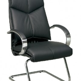 Deluxe Black Leather Guest Chair #8205