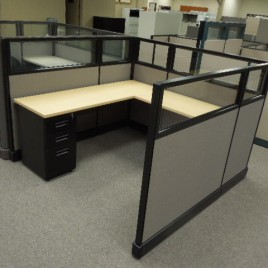 Used Herman Miller Office Cubicles with Glass Stackers