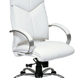 Deluxe Mid Back White Leather Chair