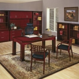Madison Series Desk Set and Office Furniture- Mahogany Finish